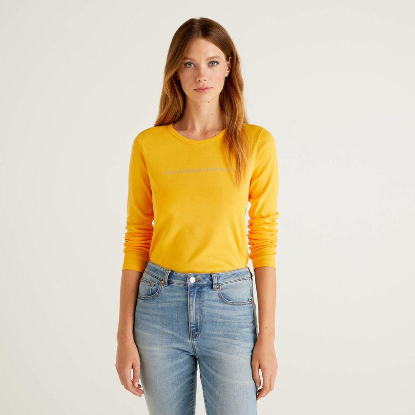 T-shirt amarela de manga comprida 100% algodão