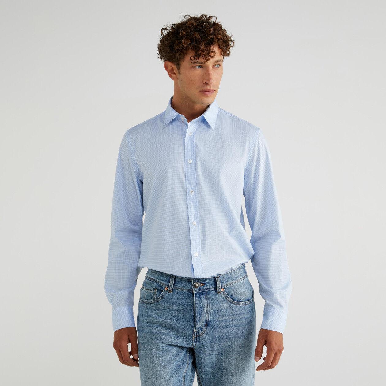 Camisa de algodão fio tinto