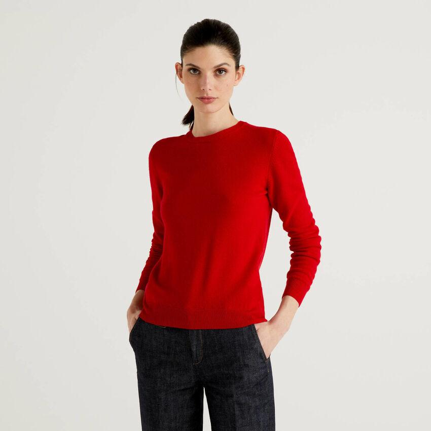 Camisola de gola redonda em pura lã virgem