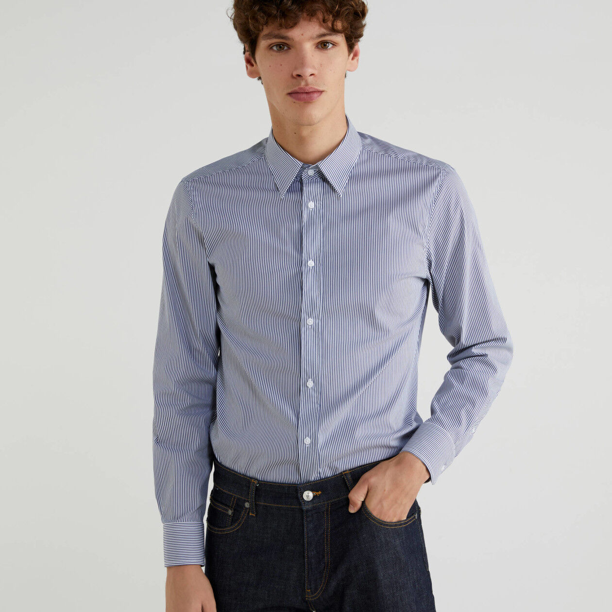 Camisa fio tinto slim fit