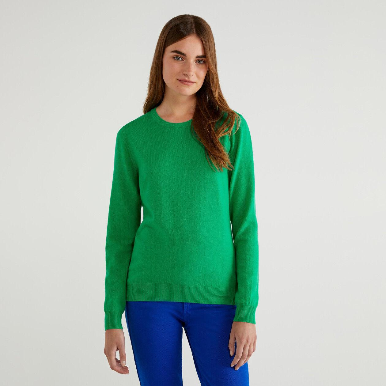Camisola de gola redonda 100% lã virgem