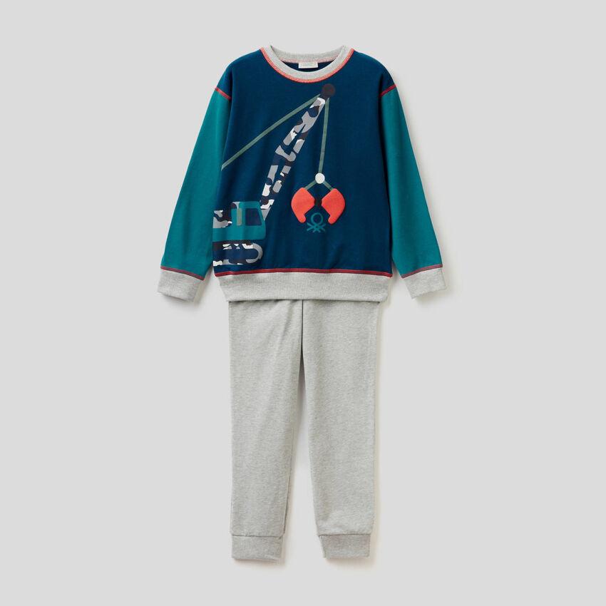 Pijama de algodão stretch com estampa