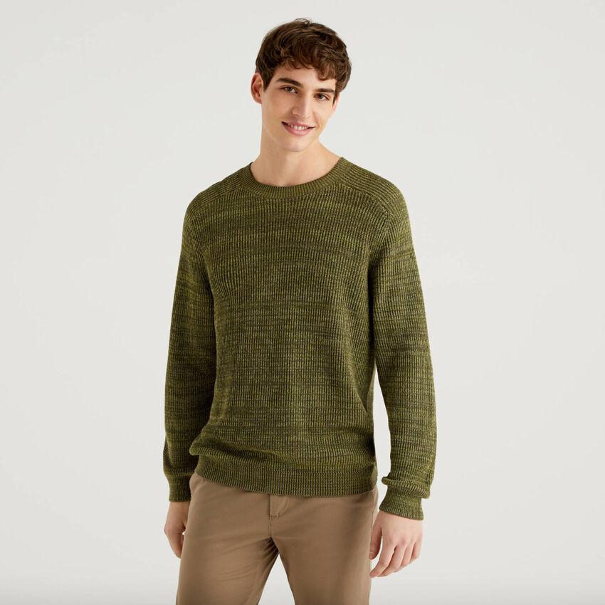 Camisola de gola redonda em algodão puro