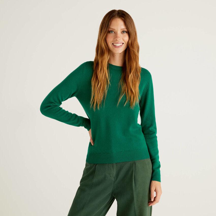 Cardigã de gola redonda verde-escuro em pura lã virgem