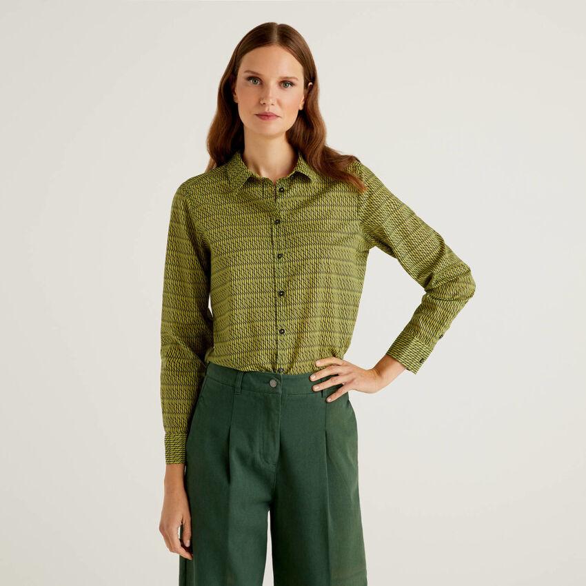 Camisa padrão verde em 100% algodão