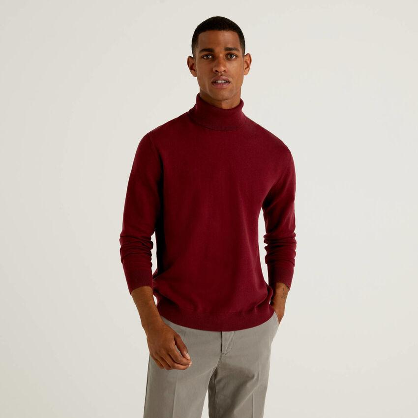 Camisola de gola alta em algodão misto stretch
