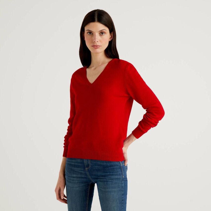 Camisola com decote em V pura lã virgem