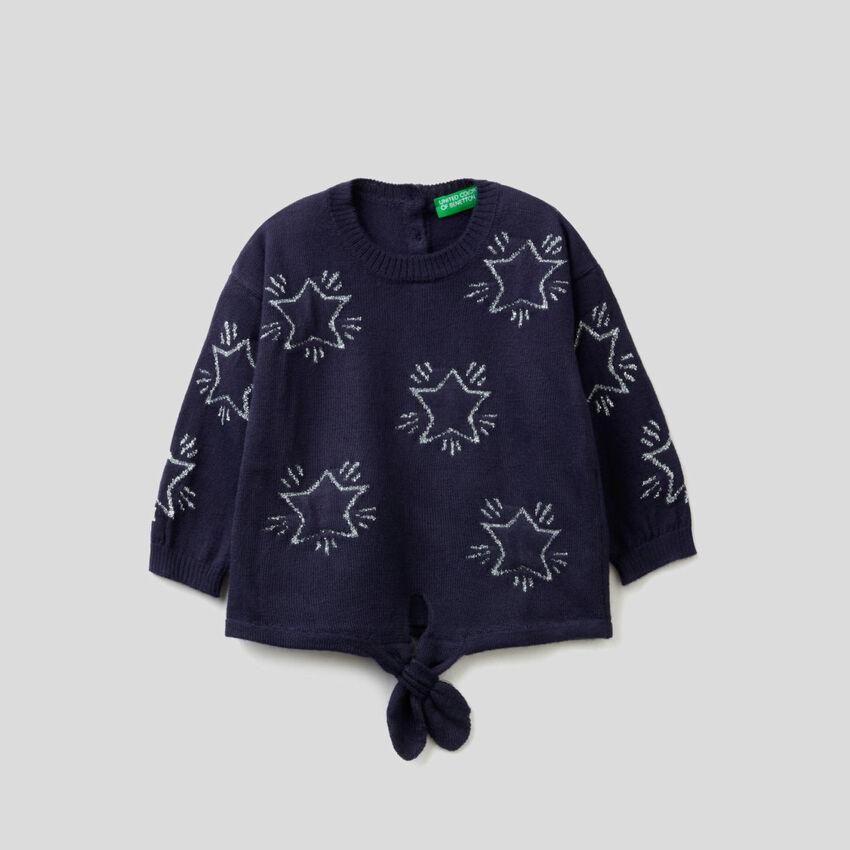 Camisola com intársia de estrelas e laço