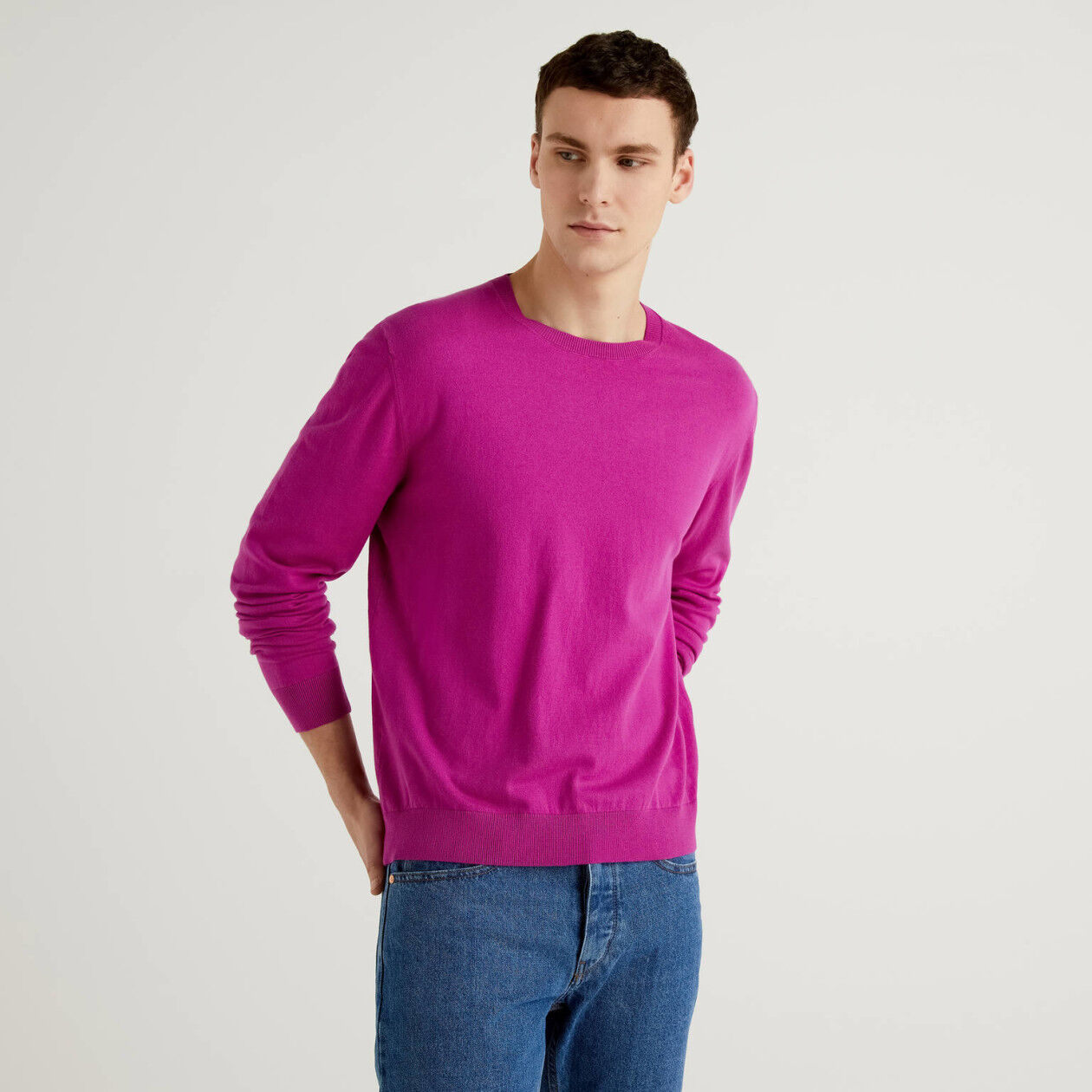 Camisola de gola redonda em mescla de algodão