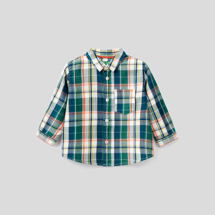Camisa aos quadrados 100% algodão
