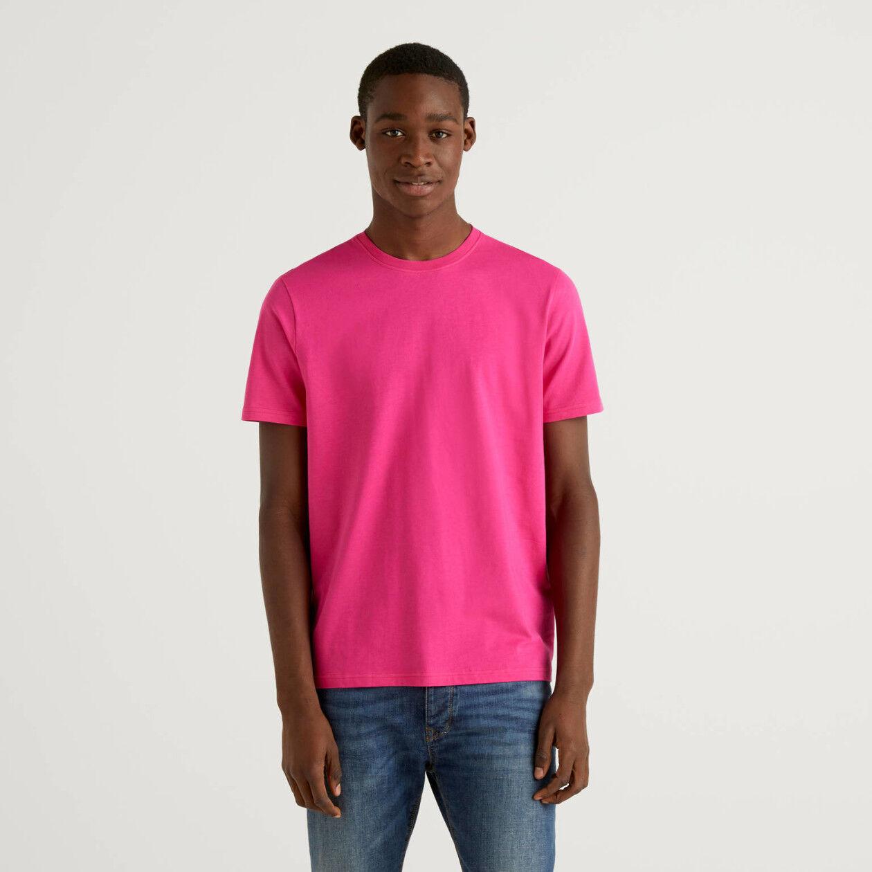 T-shirt fúcsia em algodão puro