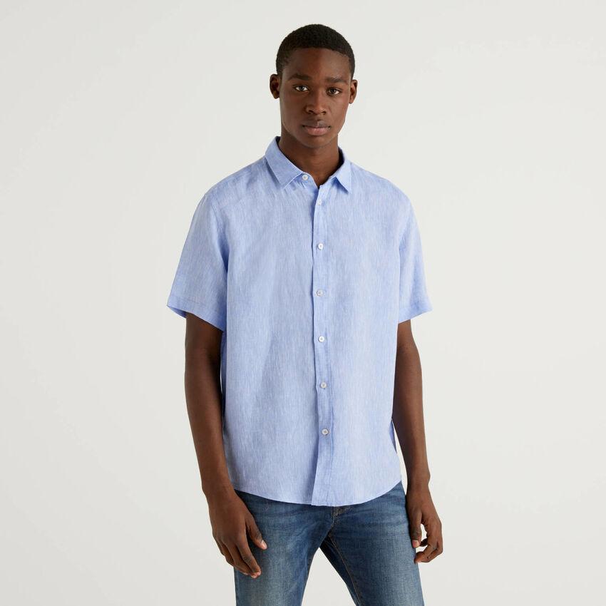 Camisa de manga curta 100% linho