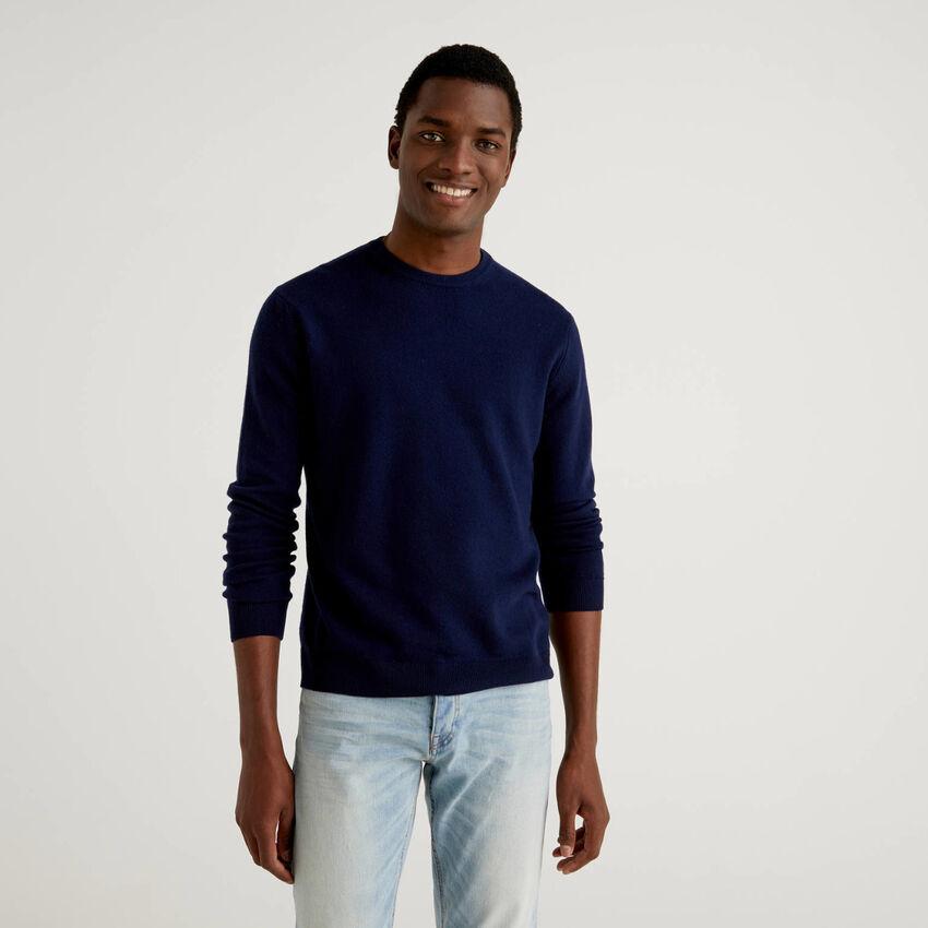 Camisola de gola redonda azul-escuro em pura lã virgem