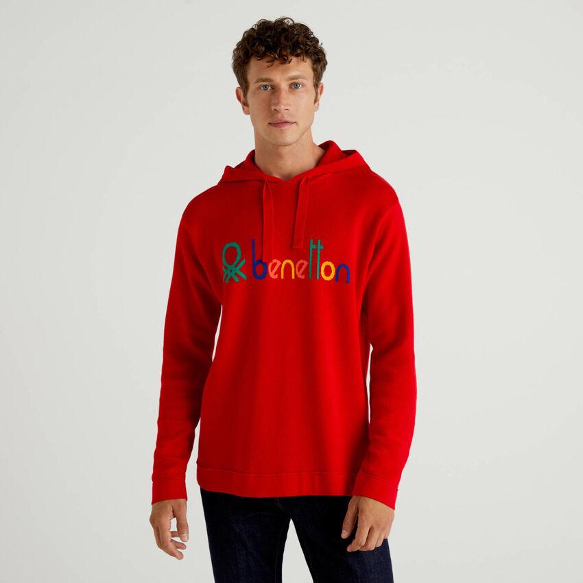 Camisola vermelha 100% algodão com capuz