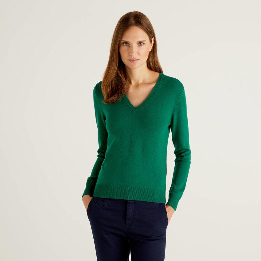 Camisola com decote em V verde-escuro em pura lã virgem