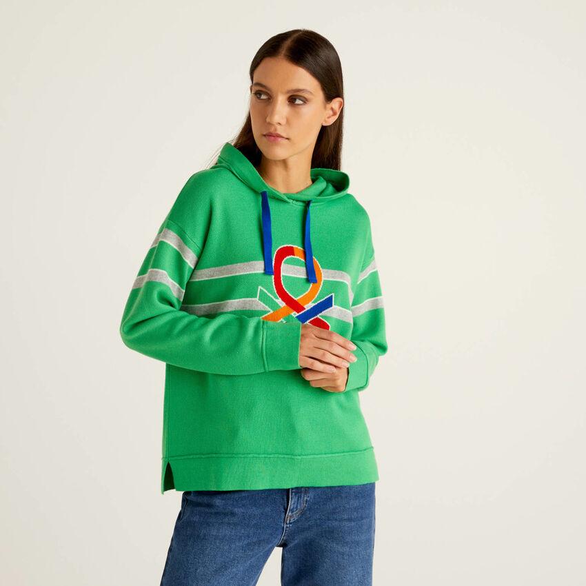 Camisola em algodão tricot com capuz