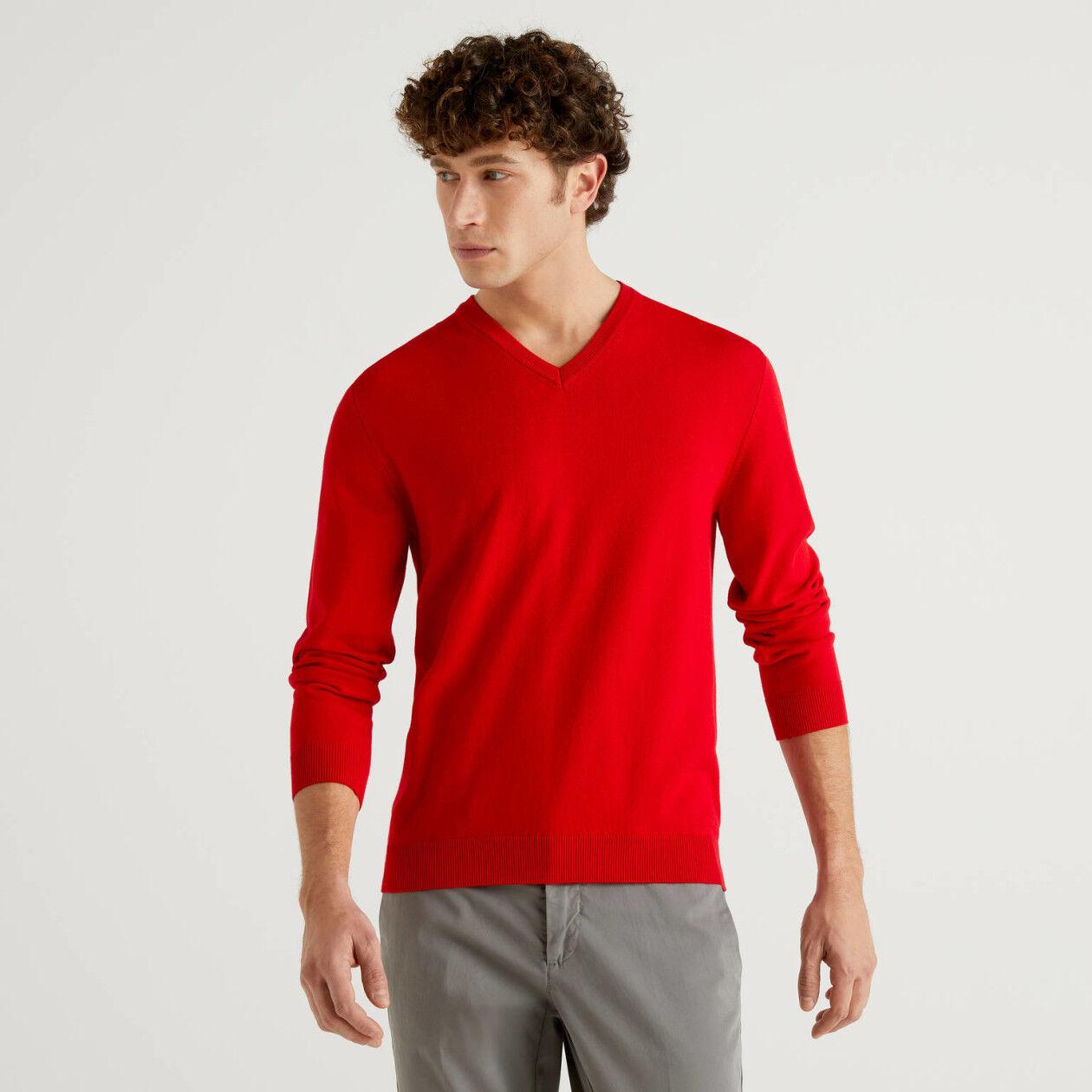 Camisola decote em V 100% algodão