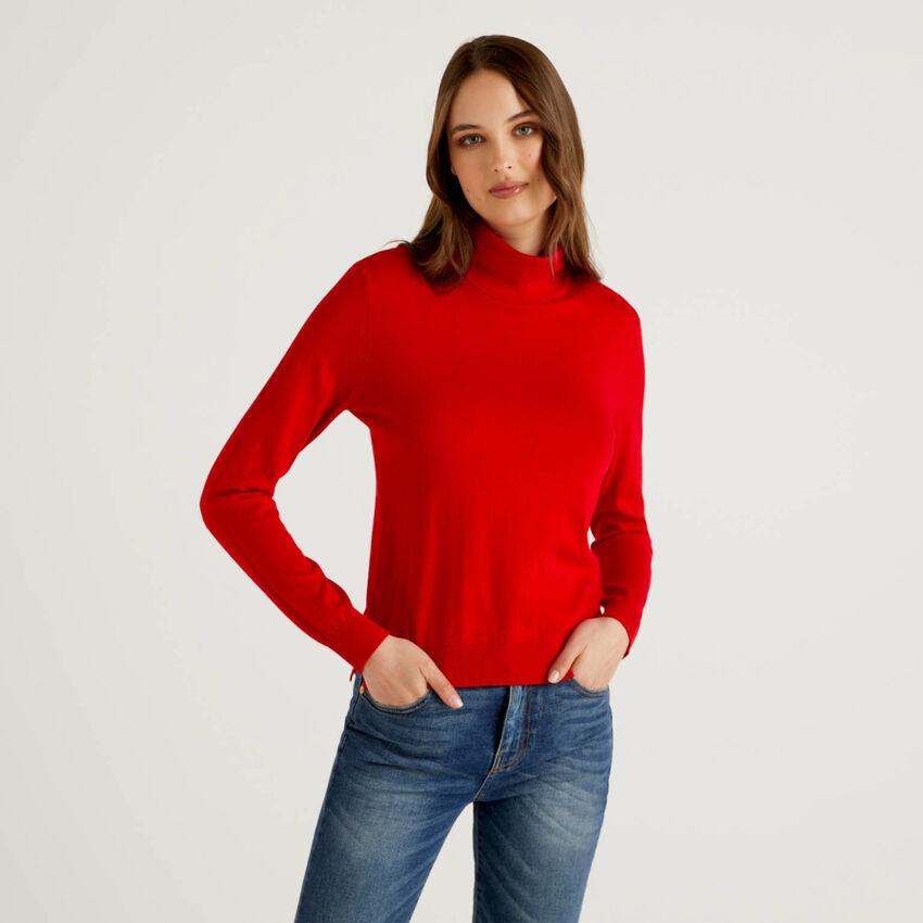 Camisola de gola alta em algodão e Modal®