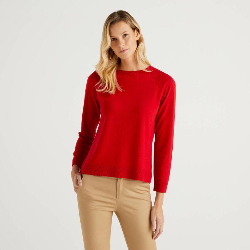 Camisola de gola redonda vermelha em mescla de lã e caxemira