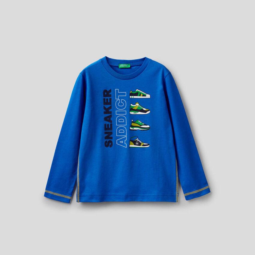 T-shirt bluette de manga comprida 100% algodão