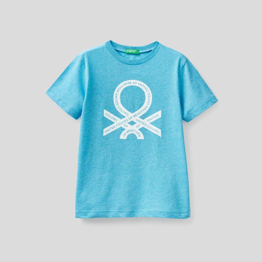 T-shirt fluorescente com logótipo estampado