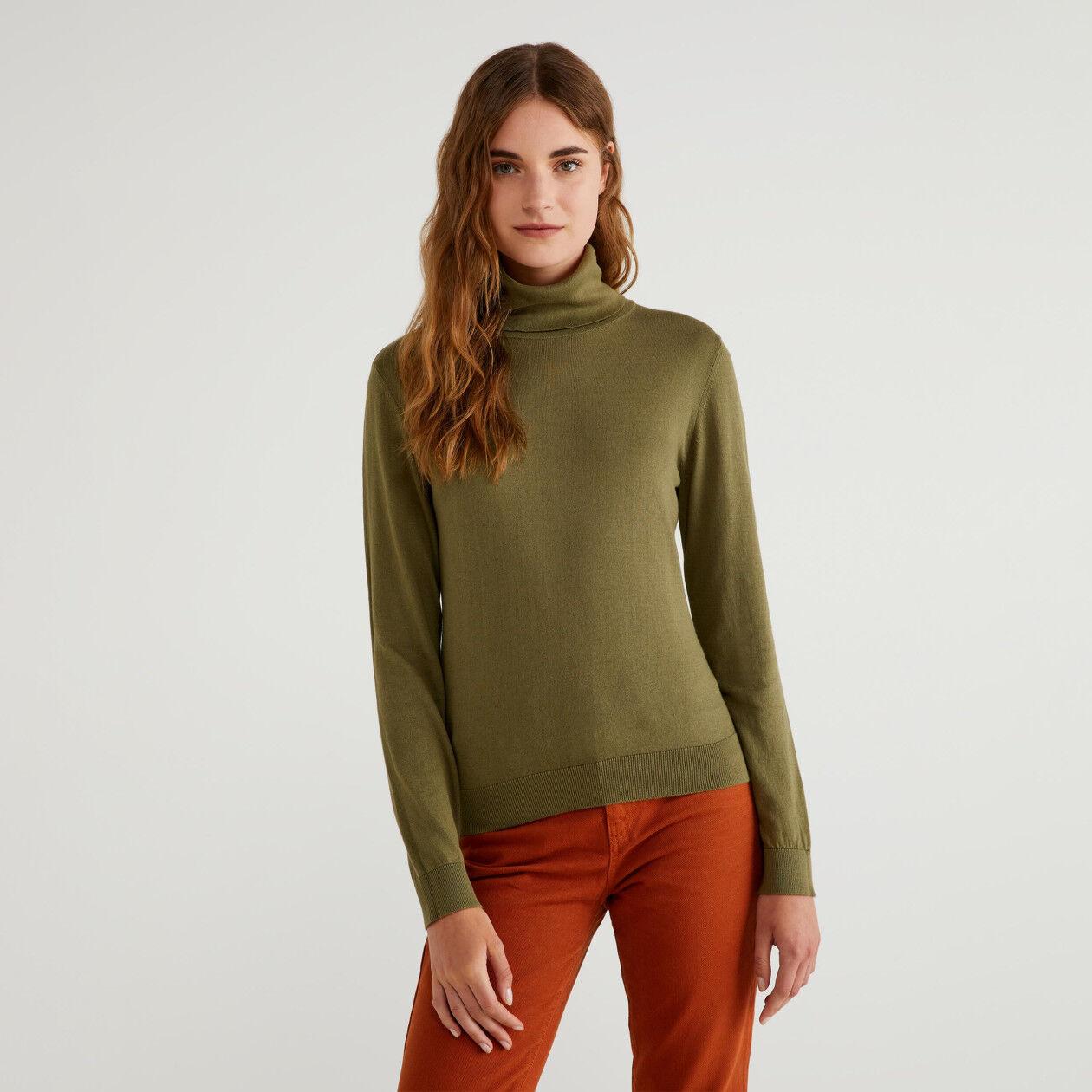 Camisola gola alta em algodão e Modal®