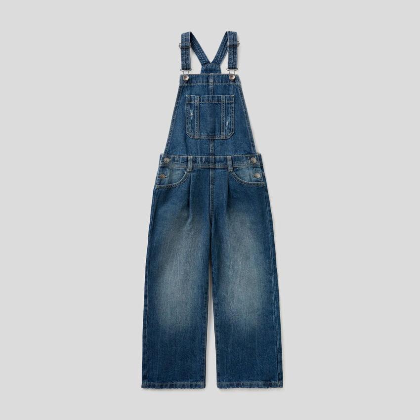 Jardineira em jeans 100% algodão