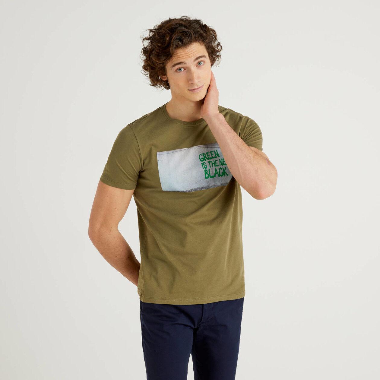 T-shirt 100% algodão com slogan