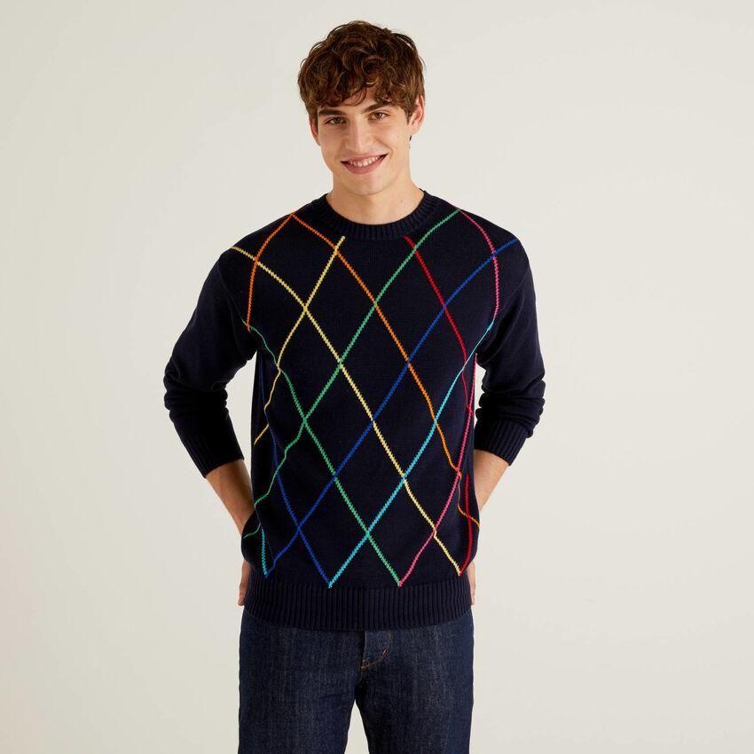 Camisola com losangos multicolor