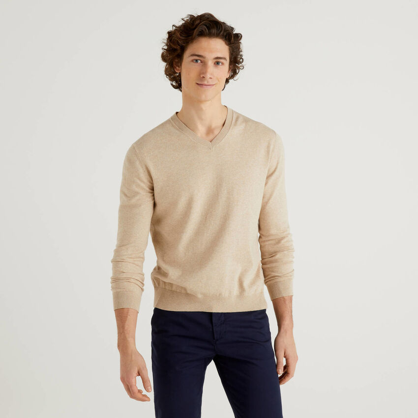 Camisola decote em V em mescla de algodão