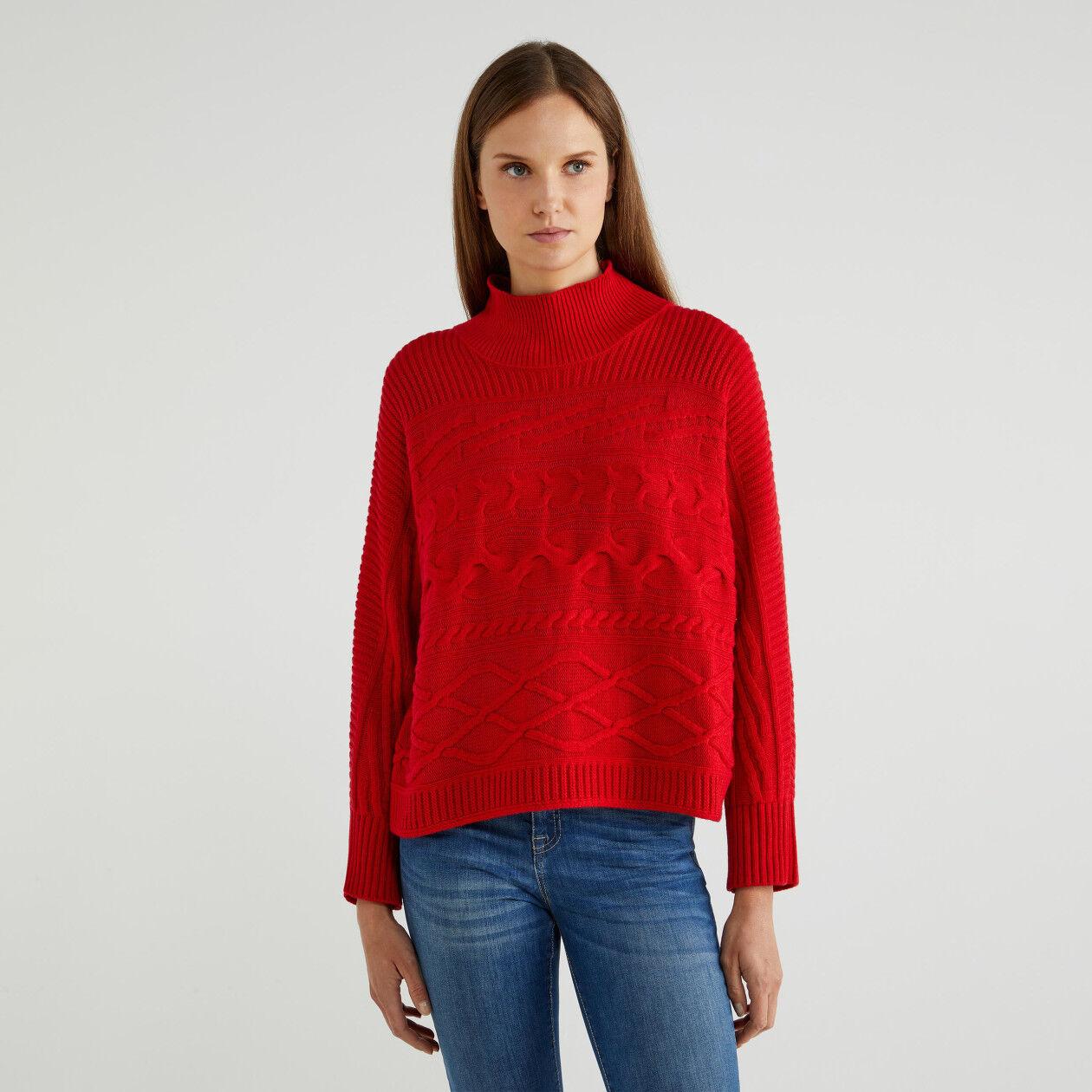 Camisola de gola alta em lã e caxemira