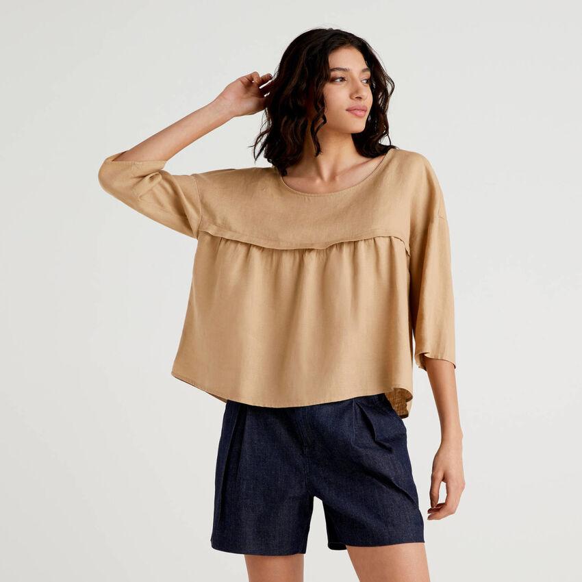 Blusa 100% linho com folho