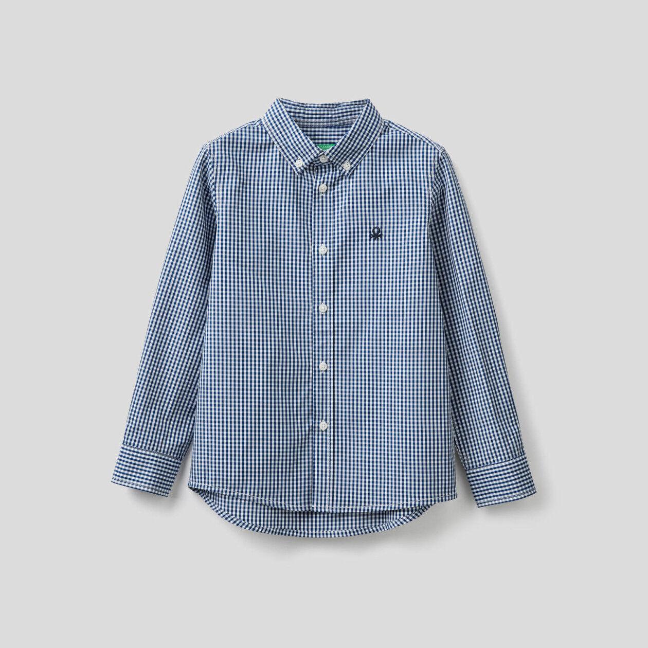 Camisa desportiva vichy em algodão puro