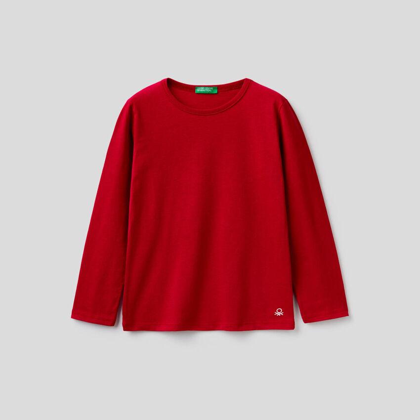 T-shirt vermelha de manga comprida
