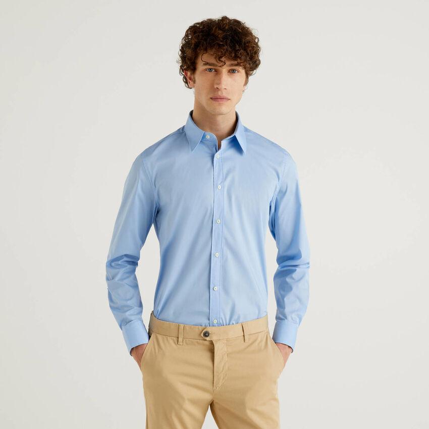 Camisa slim fit fio tinto