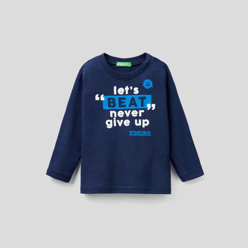 T-shirt de manga comprida com estampa slogan