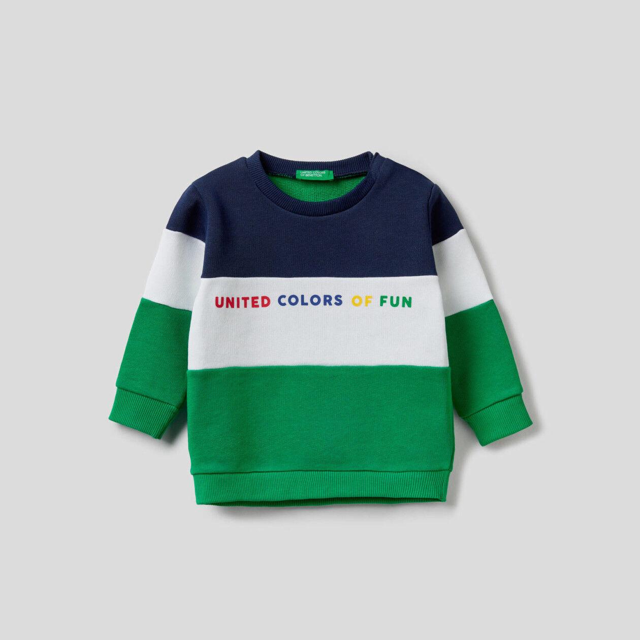 Sweat color block em algodão orgânico