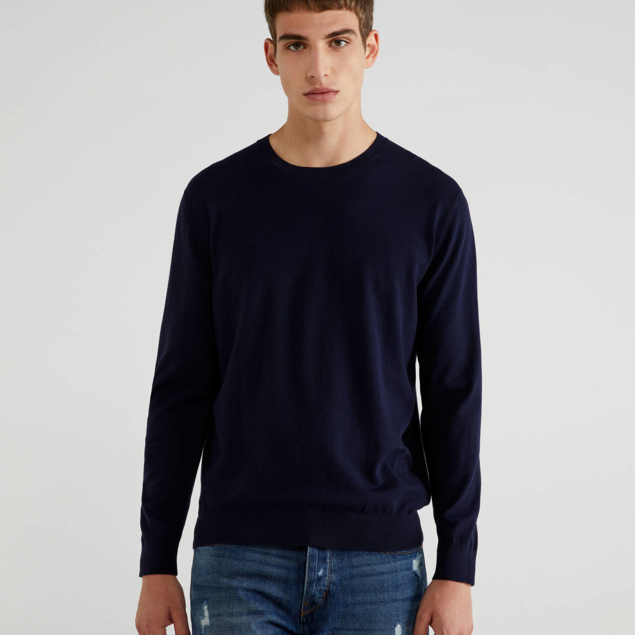 Camisola de gola redonda em algodão tricot