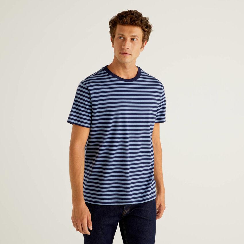 T-shirt às riscas 100% algodão orgânico