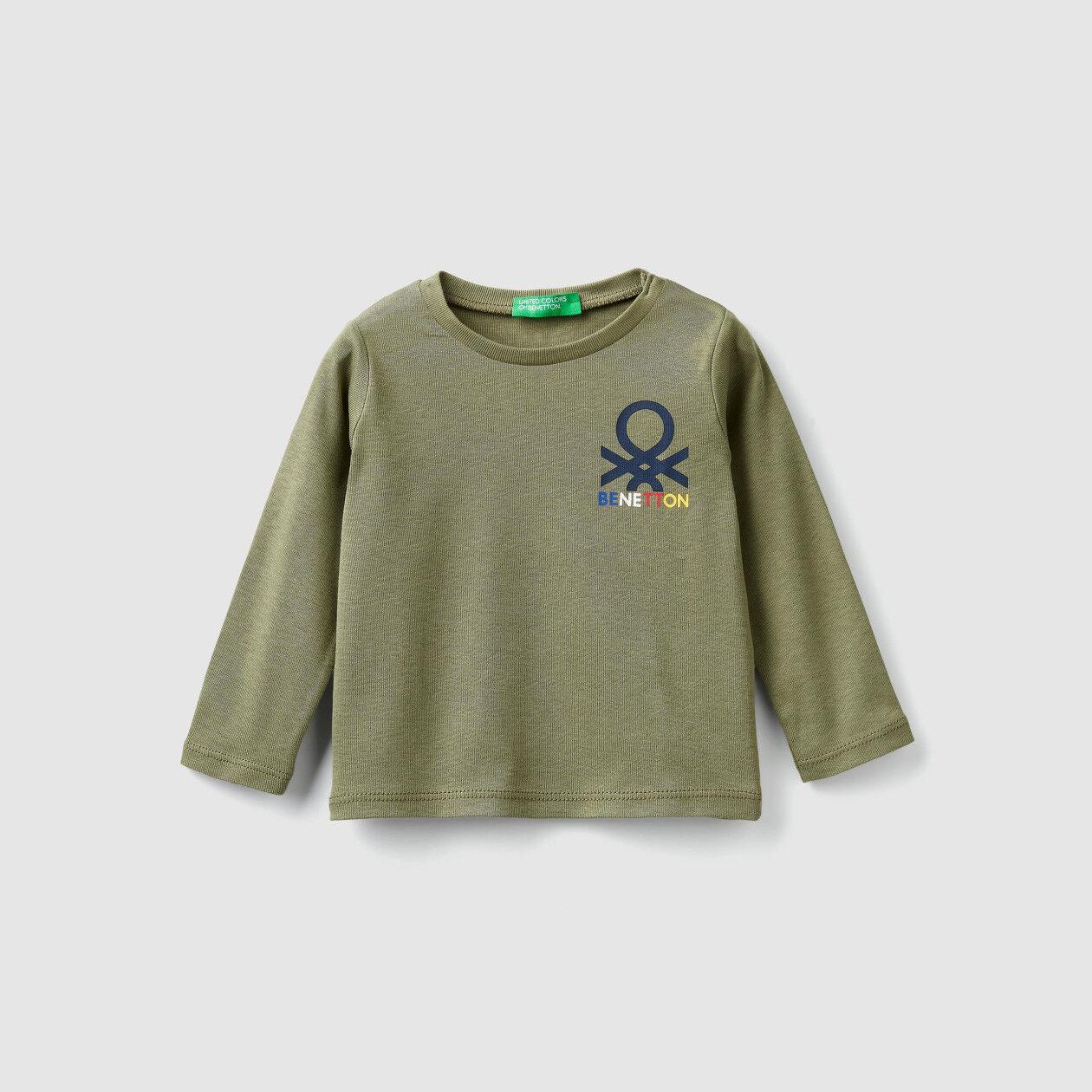 T-shirt em canelado com estampa de logo