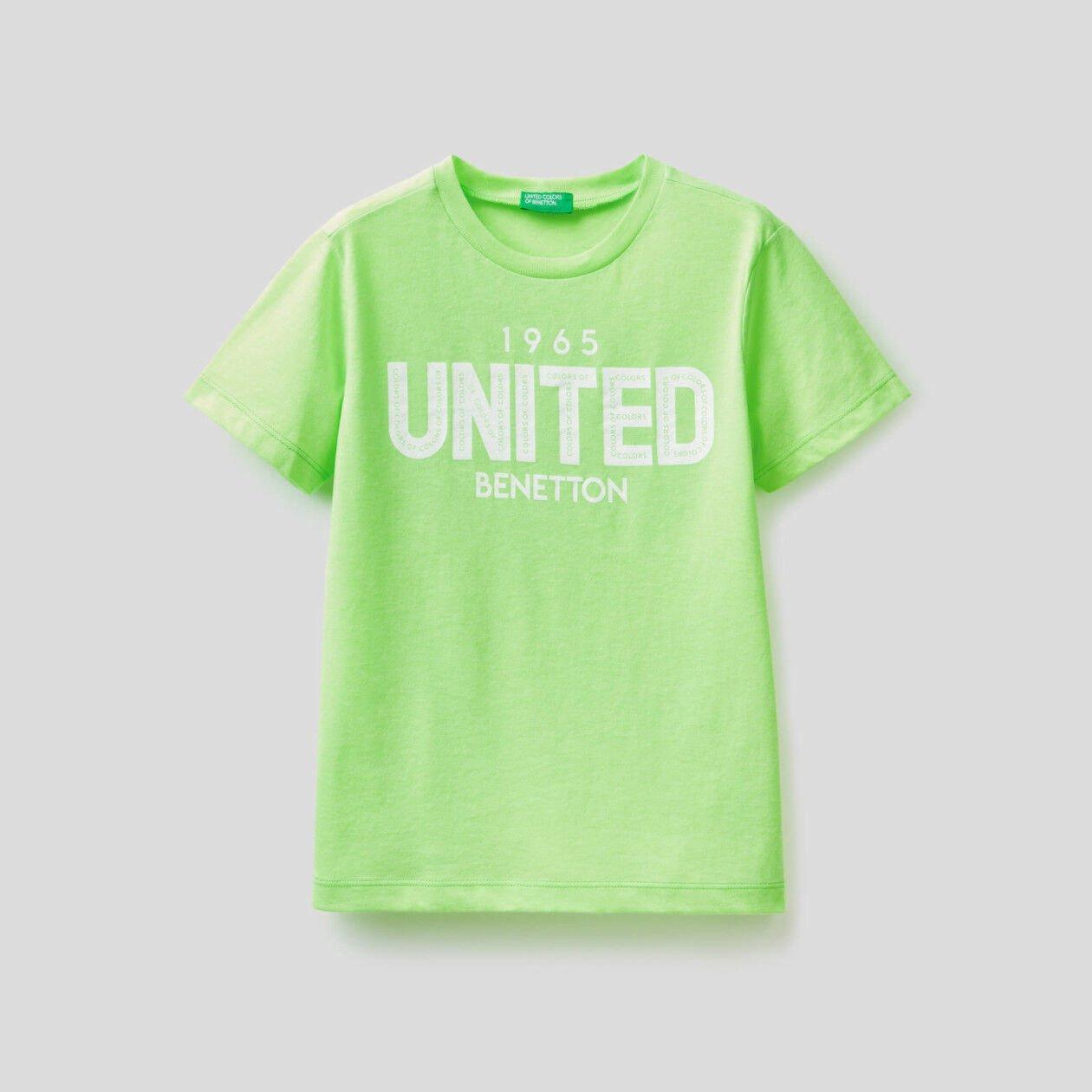 T-shirt fluorescente estampa logótipo