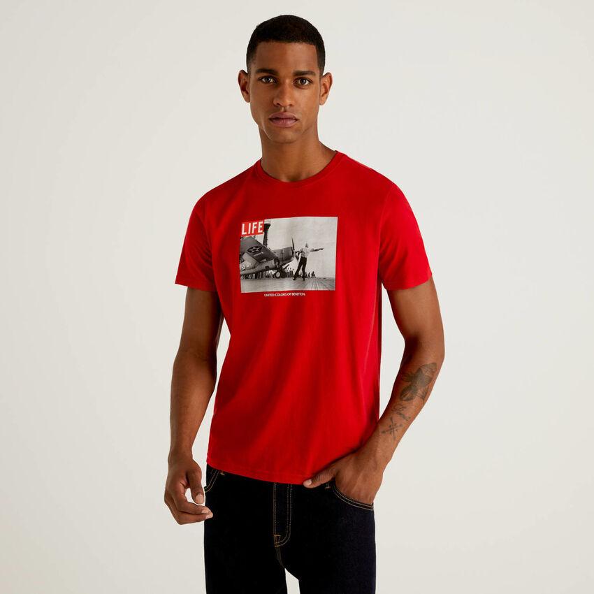 T-shirt Life em 100% algodão orgânico