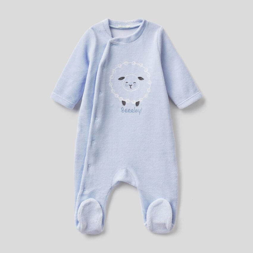 Babygrow em chenille de algodão misto