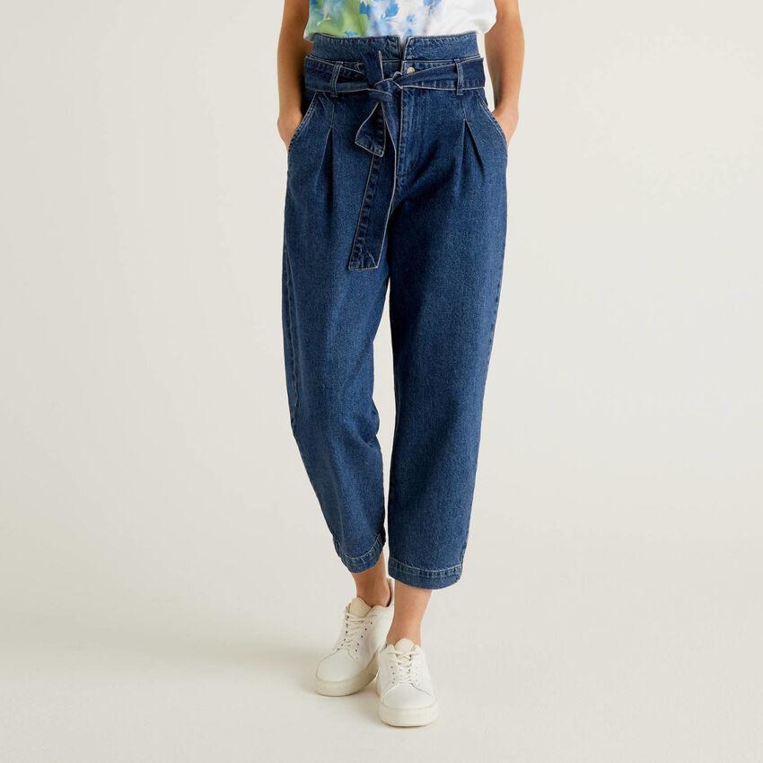 Jeans paperbag 100% algodão