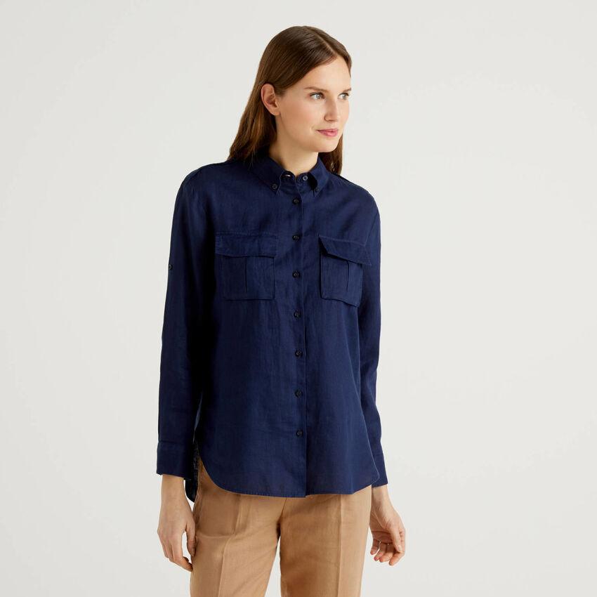 Camisa button down em puro linho