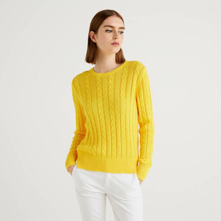 Camisola em algodão com tranças