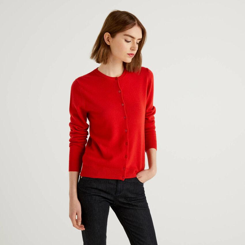Cardigã de gola redonda vermelho em pura lã virgem