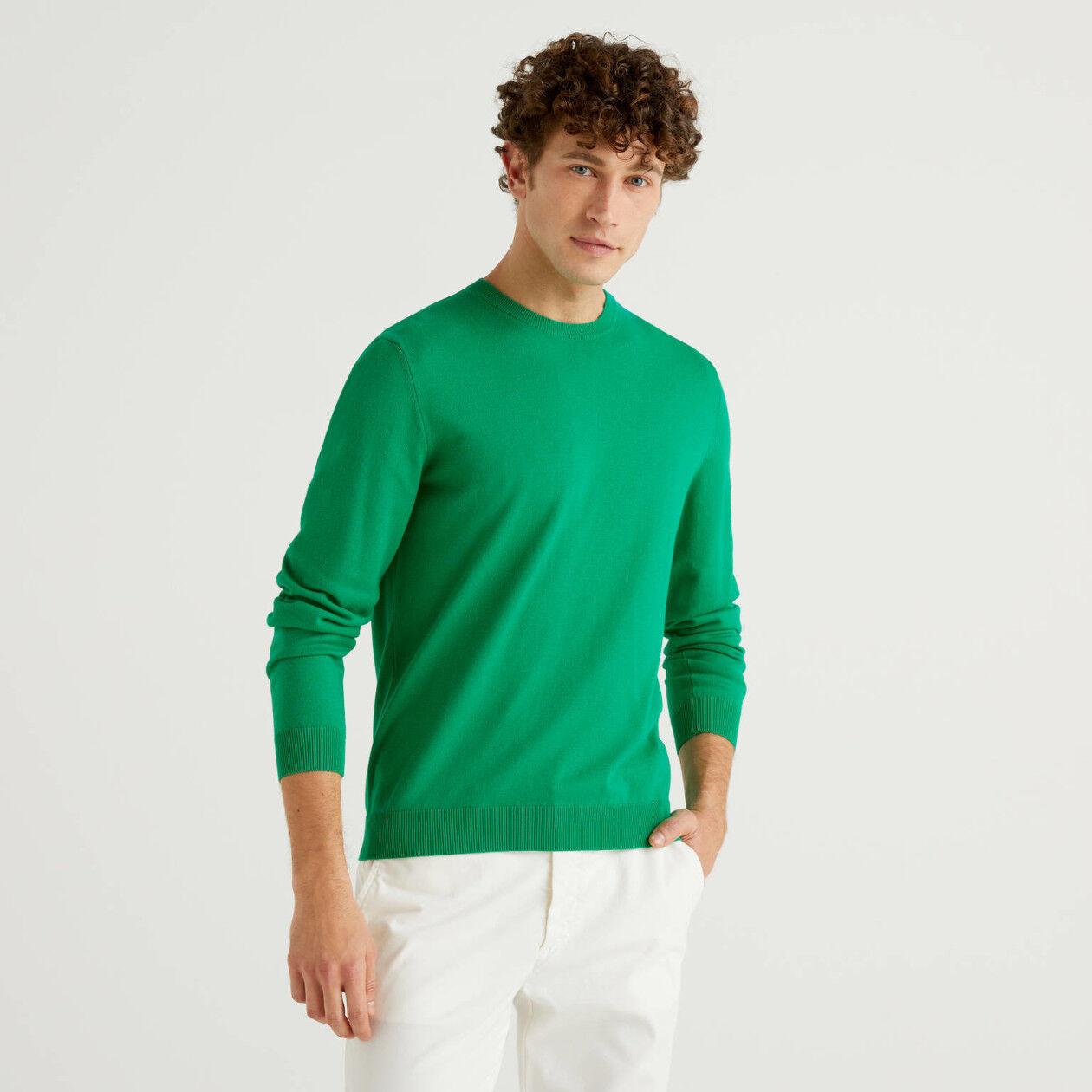 Camisola de gola redonda em 100% algodão