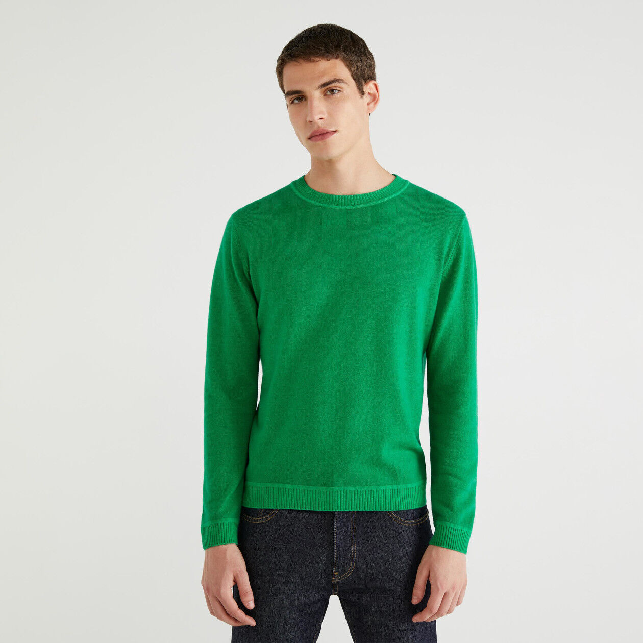 Camisola de gola redonda em lã