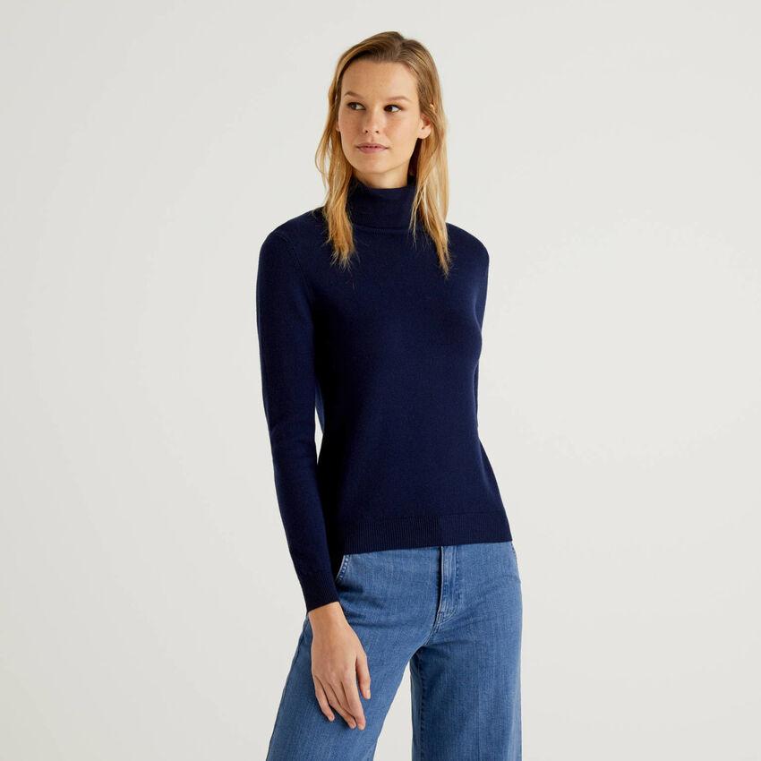 Camisola de gola alta em pura lã virgem